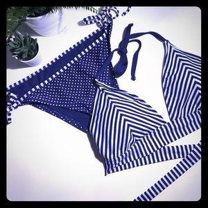 Mossimo Navy Stripe and Dot Bikini XL D/DD